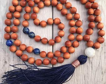 Sandalwood and Lapis Lazuli Mala Necklace/Mala Bead Necklace/108 Mala Beads/Long Tassel Necklace/Hand-Knotted Mala/Silk Tassel/Throat Chakra
