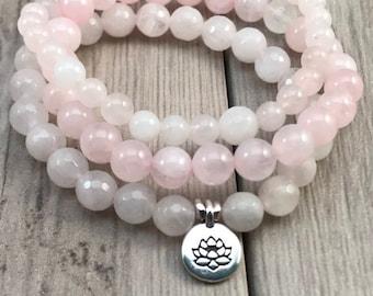 Rose Quartz Bracelet/Mala Bracelet/Mala Bead Bracelet/Bracelet Stack/Lotus Charm/Gemstone Bracelets/Pink Bracelets/Stretch Bracelets