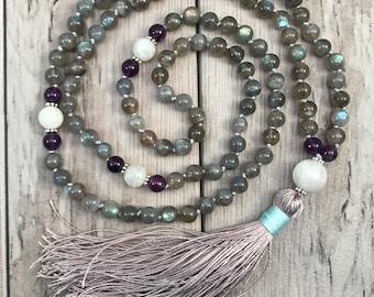 Labradorite Mala Bead Necklace/Moonstone Mala Necklace/Amethyst Mala/108 Mala Beads/Mala Necklace/Hand Knotted Mala/Silk Tassel/Third Eye