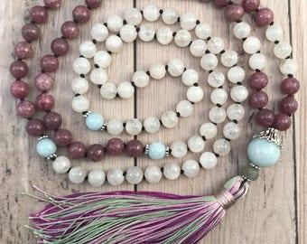 DIVINE PRESENCE MALA/Lepidolite Mala necklace/moonstone mala beads/silk tassel/aquamarine mala/fertility mala/mala for pregnancy