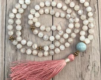 Divine Goddess Necklace/Grade A Moonstone Mala Necklace/Moonstone Mala/Moonstone Mala Bead Necklace/Fertility Mala/Pregnancy Mala