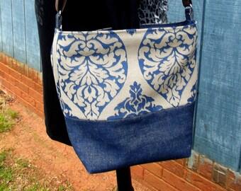 Denim Tote, Eco-friendly Materials, Rescued Fabric, Blue handbag, Crossbody bag, Large handbag, Fabric handbag, Vegan Tote