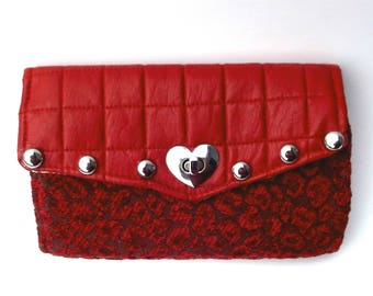 Cheetah Wallet, Wallet Phone Case, Valentine Gift for her, Card Wallet, Red Wallet, Vegan Wallet, Phone Case, iPhone Wallet, Eco-friendly
