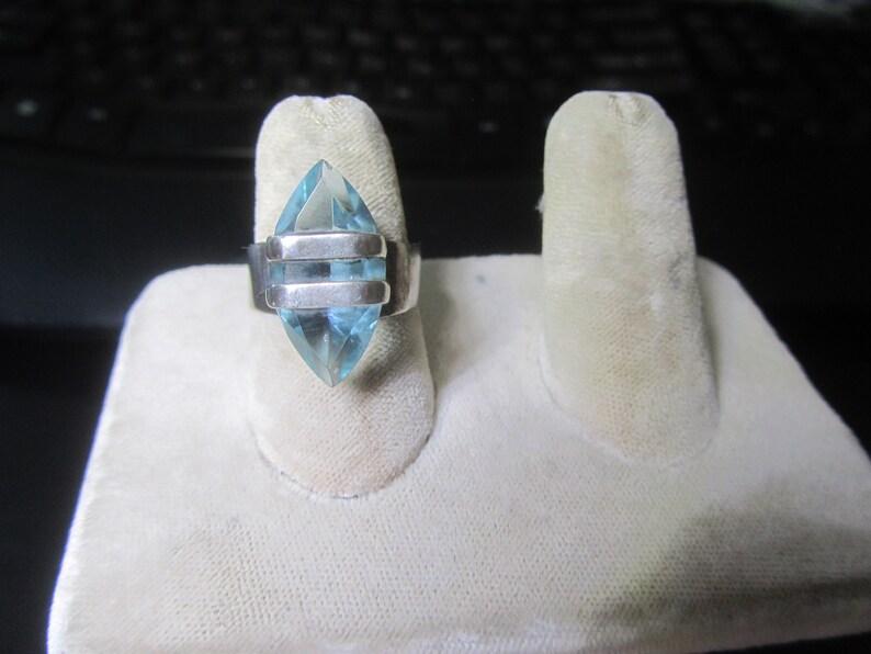 Size 8 ! 925 Sterling Silver  Modernist Blue Glass adjustable Ring