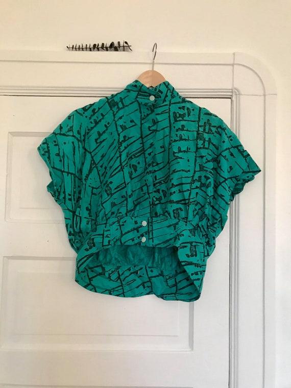 Vintage 1980's Teal Blouse
