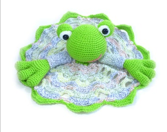 Froggy Handmade Crochet Blanket Buddy, Amigurumi Froggy, Froggy Blanket Plushie, Baby Blanket