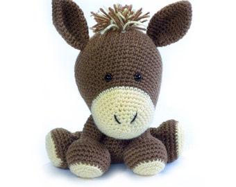 Morris the Crochet Donkey Amigurumi Plushie, Handmade Stuffed Toy, Hypoallergenic Collectible Doll