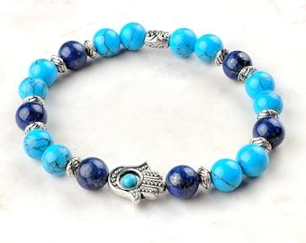 Turquoise and Lapis Lazuli Beaded Gemstone Boho Bracelet with Hamsa Hand Charm