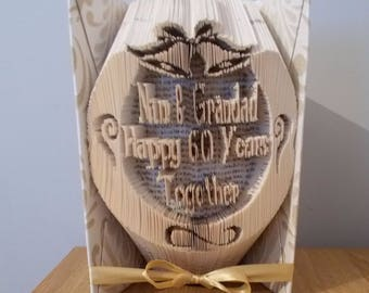 60th Wedding Anniversary Gift For Parents Folded Book Art
