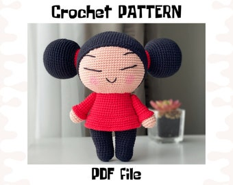 Pucca crochet PATTERN, DIY crochet Pucca, PDF pattern (English), instant download