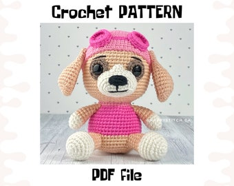Sky crochet PATTERN, DIY crochet Sky Paw Patrol, PDF pattern (English), instant download