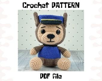 Chase crochet PATTERN, DIY crochet Chase Paw Patrol, PDF pattern (English), instant download