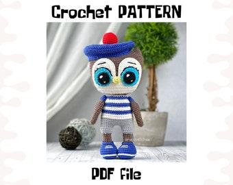Owl Boy crochet PATTERN, DIY crochet Owl Boy, PDF pattern (English), instant download
