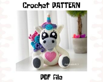 Unicorn crochet PATTERN, DIY crochet unicorn, PDF pattern (English), instant download