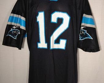 4e62486bc Vintage 90 s Reebok Carolina Panther Kerry Collins  82 Black NFL Jersey
