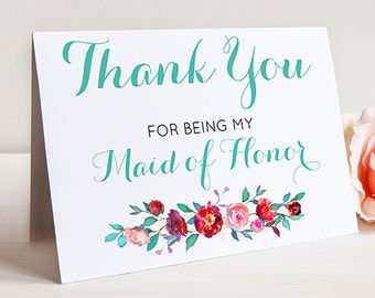Thank You for being my maid of honor - Greeting Card Note Card - Thank You Card for Maid of Honor with Metallic Envelope Wedding Stationery