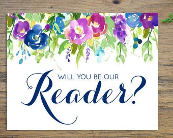 Will you be our Reader? - Greeting Card Note Card - Wedding Reader Ask Card with Metallic Envelope