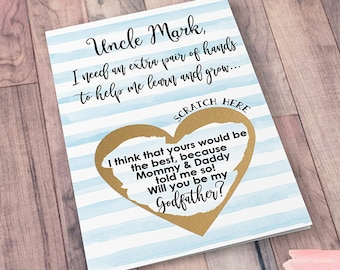 Scratch Off Will you be my Godfather? Card - Godmother Godparents Godfather Asking card with Metallic Envelope
