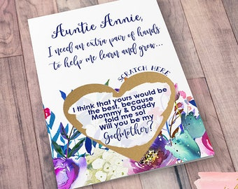 Scratch Off Will you be my Godmother? Card - Godmother Godparents Godfather Asking card with Metallic Envelope