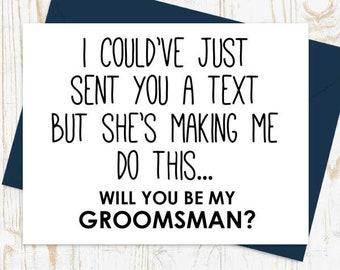 Funny Groomsman Card, Groomsman Proposal Card - Best Man, Groomsman, Ring Bearer, Bridesman, Man of Honor, Cards for Groomsmen