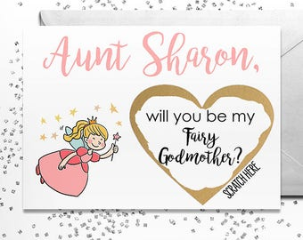 Scratch Off Will you be my Fairy Godmother? Card - Card for Fairy Godmother with Metallic Envelope, Will you be my godmother? Card