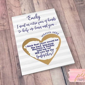 Card Godmother Godparents Godfather Asking card with Metallic Envelope Scratch Off Will you be my Godmother