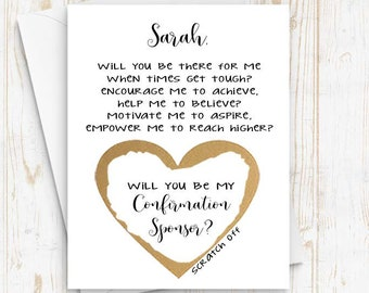 Personalized CONFIRMATION SPONSOR Asking card with Metallic Envelope Scratch Off Will you be my Confirmation Sponsor Card