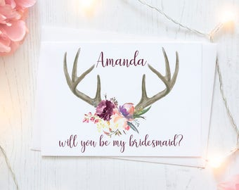 Personalized Will you be my Bridesmaid? Antlers Bridesmaid Proposal Card - Maid of Honor, Matron of Honor, Bridesmaid Ask Card