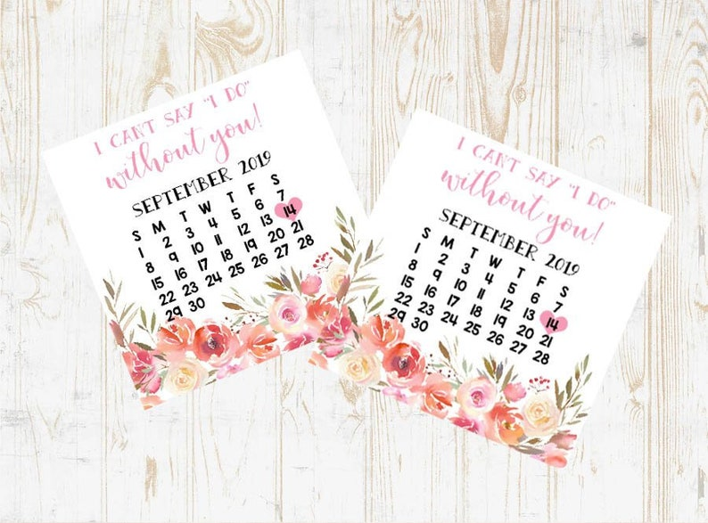 Bridesmaid Calendar Card, Bridesmaid Proposal Calendar, Save The Date, I  can't say