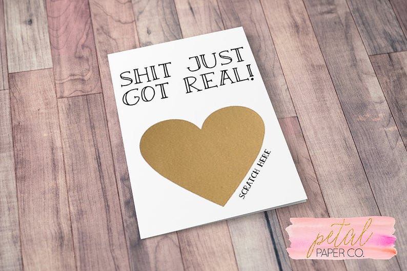 Scratch Off Sh*t just got real We/'re Pregnant Bun in the Oven Card Pregnancy Announcement We/'re Expecting w Metallic Envelope