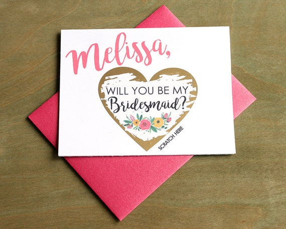Bridesmaid Scratch Off Cards SET OF 4 or more Will you be my Bridesmaid Cards Bridesmaid Proposal Card Invitation w Metallic Envelope
