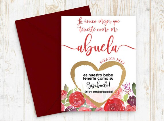 Spanish Pregnancy announcement, Scratch Off Card Pregnancy Reveal to Abuela - Bisabuela Card - New Bisabuela - Bisabuela to be card