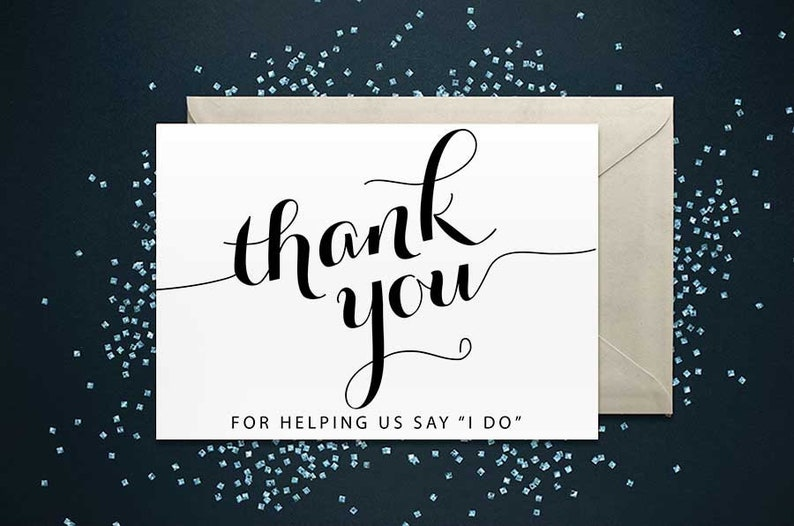 thank you for helping us say i do card wedding card