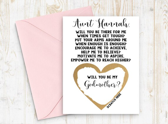 Card Scratch Off Will you be my Godmother Godmother Godparents Godfather Asking card with Metallic Envelope