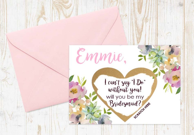 Maid of Honor Card with Metallic Envelope 4 OR MORE Cards Bridesmaid Proposal Cards Scratch Off Will You Be My Bridesmaid Card Set