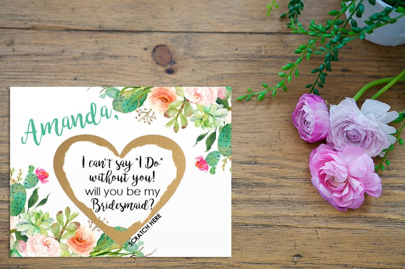 Scratch Off Will you be my Bridesmaid Card  Maid of Honor image 0