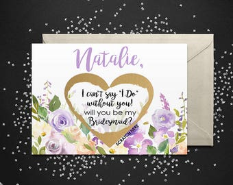 Scratch Off Will you be my Bridesmaid? Card - Maid of Honor, Bridesmaid Proposal Invitation Ask Card Personalized with Metallic Envelope