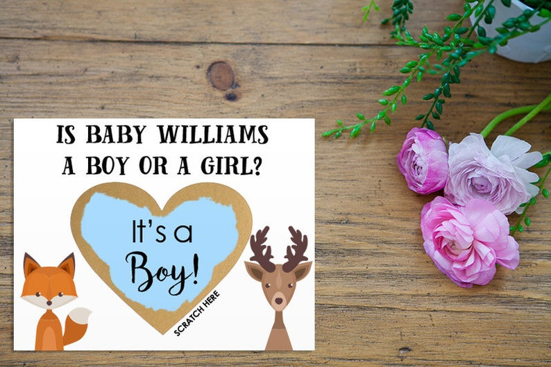 Scratch Off Gender Reveal Personalized Baby Boy or Girl Card Pregnancy Announcement Gender Reveal with Metallic Envelope