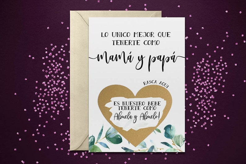 Scratch Off Card Pregnancy Reveal to Parents New Grandparents grandparents to be card Spanish Pregnancy announcement Abuelos Card