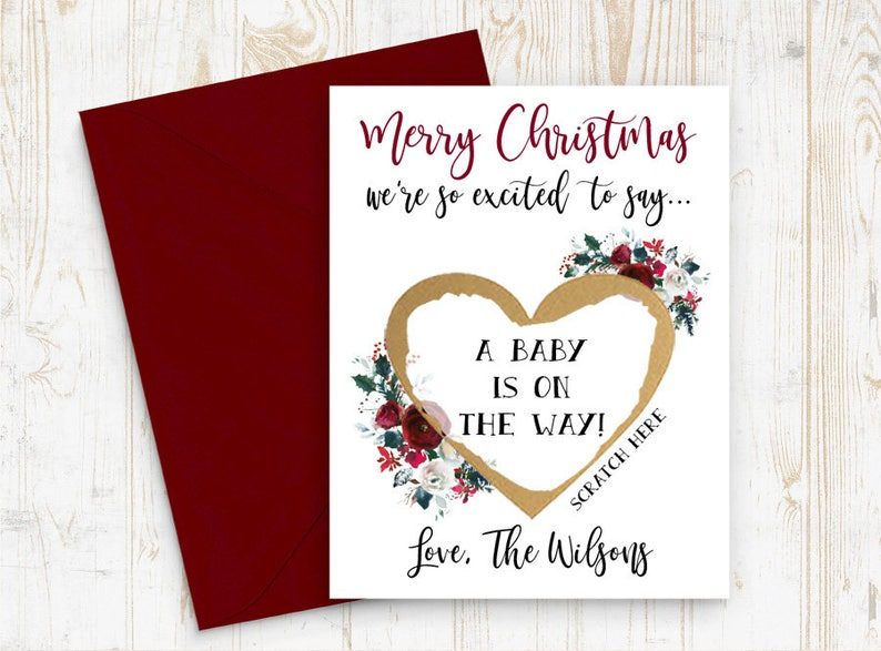 Card Personalized for friends or family Christmas cards Christmas Card Pregnancy Reveal Set of 4 OR MORE Scratch Off A baby is on the way