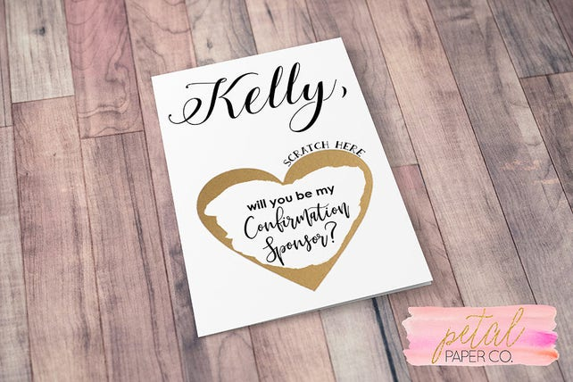 Scratch Off Will you be my Confirmation Sponsor? Card - Personalized Confirmation Sponsor Asking card with Metallic Envelope