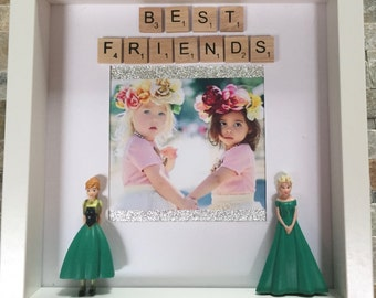 Best Friends Personalised Frozen Photo Frame Elsa Anna Forever Scrabble Letters Sparkly Perfect Gift Bridesmaid Birthday