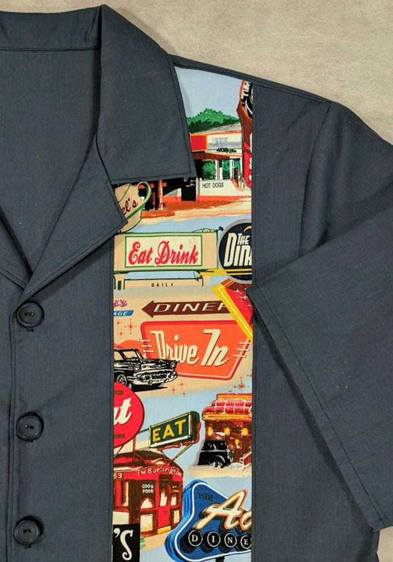 Retro Diner Bowling Shirt Old School Size Medium Drive In Ready to Ship SALE