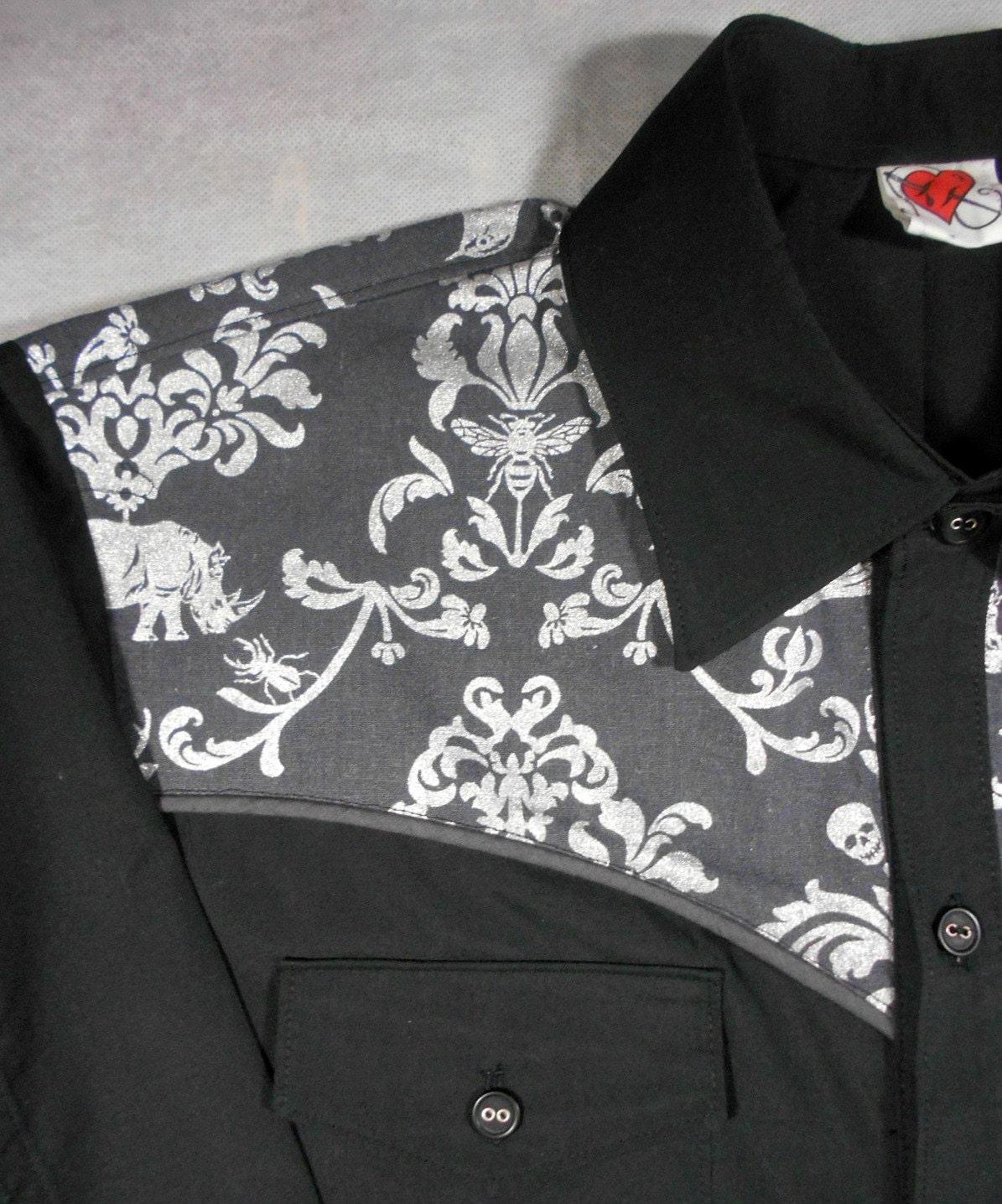 Metallic Western Shirt Cowboy Shirt Dress Shirt Rhino Etsy