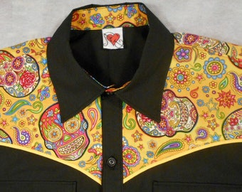 Ready to Ship SALE - Size Small, Long Sleeve ONE ONLY - Swallow, Floral, Bright, Flowers, Western Shirt