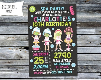 Spa Invitation / Spa Party Invitation / Spa Birthday Invitation (Personalized) Digital Printable File