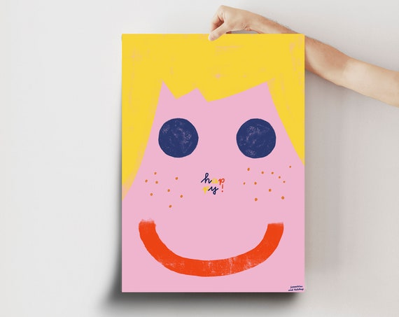 """Poster """"happy"""" A2 / different colours"""