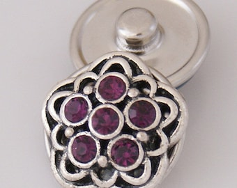 Item# 3511--- 18mm 5-Point Burgundy Rhinestone Snap (FREE Shipping Coupon Code in Description)