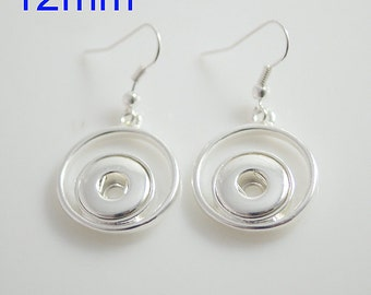 Item# 0403--- 12mm Snap Jewelry Open Back Hanging Earrings w/ Circle (FREE Shipping Coupon Code in Description)