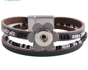 Item# 0659C--- 12mm 3-Strap Flower and Bead Bracelet w/Magnet Clasp (FREE Shipping Coupon Code in Description)